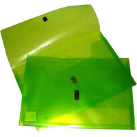 POP POLYWALLY WALLET HOOK AND LOOP CLOSURE 30MM GUSSET FOOLSCAP LIME