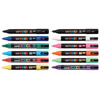 UNI PC-5M POSCA POSTER MARKER MEDIUM BULLET TIP 2.5MM ASSORTED BOX 12