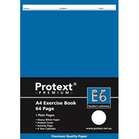 PROTEXT E6 PREMIUM EXERCISE BOOK PLAIN 70GSM 64 PAGE A4 ASSORTED