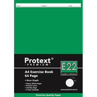 PROTEXT E22 PREMIUM EXERCISE BOOK GRAPH 8MM 70GSM 64 PAGE A4 ASSORTED