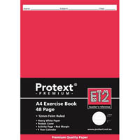 PROTEXT E12 PREMIUM EXERCISE BOOK RULED 12MM 70GSM 48 PAGE A4 ASSORTED