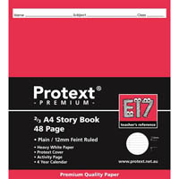 PROTEXT PREMIUM E17 STORY BOOK PLAIN AND 12MM RULED 48 PAGE 210 X 190MM ASSORTED