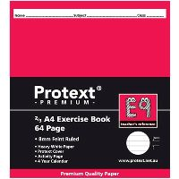 PROTEXT E9 PREMIUM EXERCISE BOOK 2/3 RULED 8M 70GSM 64 PAGE A4 ASSORTED