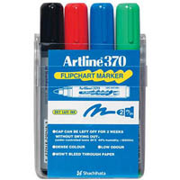 ARTLINE 370 FLIPCHART MARKER 2MM BULLET ASSORTED WALLET 4