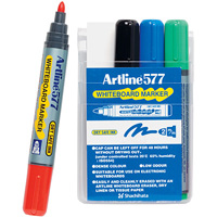 ARTLINE 577 WHITEBOARD MARKER 3MM BULLET ASSORTED WALLET 4