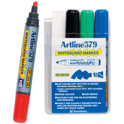 Image for ARTLINE 579 WHITEBOARD MARKER CHISEL 5MM ASSORTED WALLET 4 from Office National Sydney Stationery