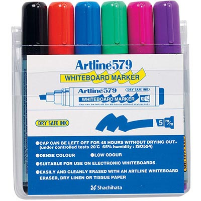 Image for ARTLINE 579 WHITEBOARD MARKER CHISEL 5MM ASSORTED WALLET 6 from Aztec Office National Melbourne