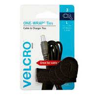 VELCRO BRAND LARGE ONE-WRAP CABLE AND CHARGER TIES PACK 3
