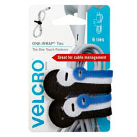 VELCRO BRAND ONE-WRAP TIES ASSORTED COLOURS AND SIZES PACK 6