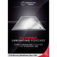 GBC LAMINATING POUCH 175 MICRON 59 X 83MM CLEAR PACK 100