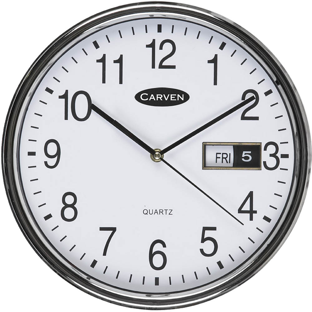 Carven Wall Clock With Date 285mm Silver Frame Office