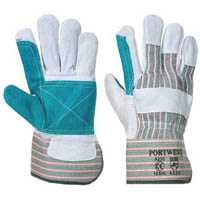PORTWEST DOUBLE PALM RIGGER GLOVE CHROME/GREEN XL