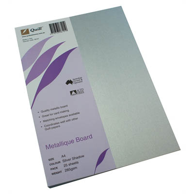 Image for QUILL METALLIQUE BOARD 285GSM A4 SILVER SHADOW PACK 25 from Office National Kalgoorlie
