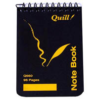 QUILL Q560 POCKET NOTE BOOK SPIRALBOUND TOP OPENING 60GSM 96 PAGE 112 X 77MM