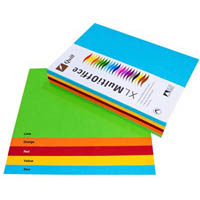 QUILL XL MULTIOFFICE COLOURED A4 COPY PAPER 80GSM BRIGHTS ASSORTED PACK 500 SHEETS