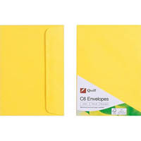 QUILL C6 COLOURED ENVELOPES LEMON PACK 25