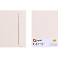 QUILL C6 COLOURED ENVELOPES CREAM PACK 25