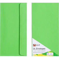 QUILL DL COLOURED ENVELOPES LIME PACK 25