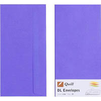 QUILL DL COLOURED ENVELOPES PLAINFACE STRIP SEAL 80GSM 110 X 220MM LILAC PACK 25