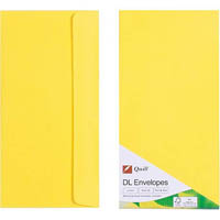 QUILL DL COLOURED ENVELOPES LEMON PACK 25