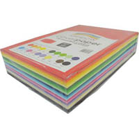 RAINBOW COVER PAPER 125GSM 255 X 380MM ASSORTED PACK 500