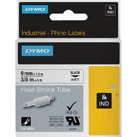 DYMO 18053 RHINO INDUSTRIAL HEAT SHRINK TUBING 9MM BLACK ON WHITE