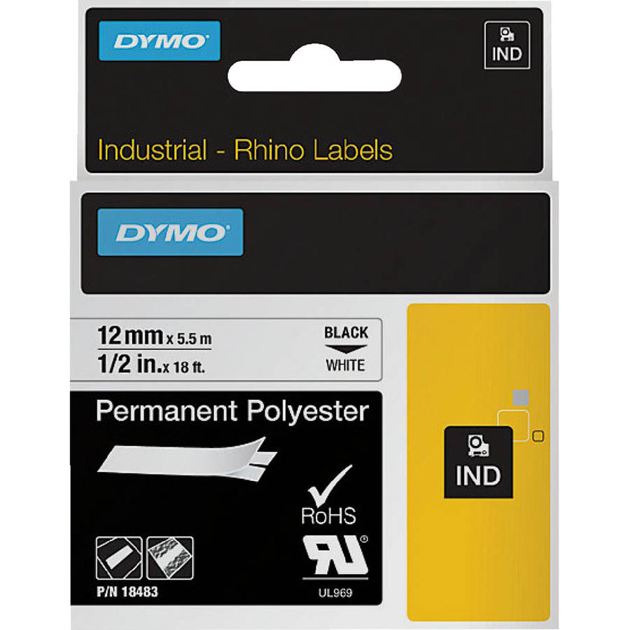 Dymo 18483 Rhino Industrial Tape Permanent Polyester 12Mm Black On