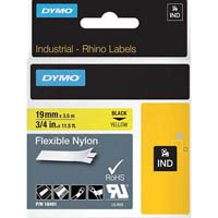 DYMO 18491 RHINO INDUSTRIAL TAPE FLEXIBLE NYLON 19MM BLACK ON YELLOW