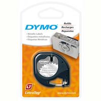 DYMO 91338 LETRATAG LABELLING TAPE METALIC 12MM X 4M BLACK ON SILVER
