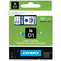 DYMO 40914 D1 LABELLING TAPE 9MM X 7M BLUE ON WHITE