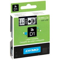 DYMO 43610 D1 LABELLING TAPE 6MM X 7M BLACK ON CLEAR