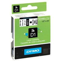 DYMO 45013 D1 LABELLING TAPE 12MM X 7M BLACK ON WHITE