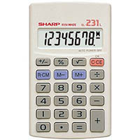 SHARP EL231L BASIC FUNCTION 8 DIGIT CALCULATOR WHITE