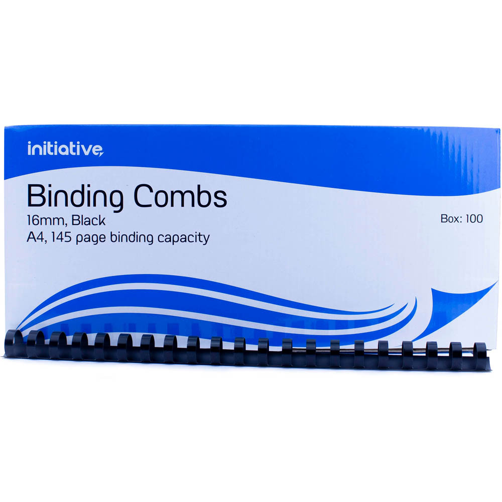Image for INITIATIVE PLASTIC BINDING COMB 16MM 145 PAGE CAPACITY A4 BLACK BOX 100 from Aztec Office National