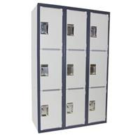 STEELCO SCHOOL LOCKER HEAVY DUTY 1830 X 380 X 580MM BANK OF 3 DARK/LIGHT GREY