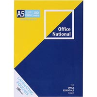 OFFICE NATIONAL LAMINATING POUCH 100 MICRON A5 CLEAR PACK 100