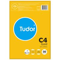TUDOR C4 ENVELOPES POCKET PLAINFACE STRIP SEAL 80GSM 324 X 229MM GOLD PACK 50