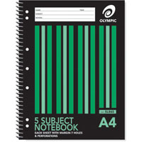 OLYMPIC SL865 SPIRAL 5-SUBJECT NOTEBOOK 8MM RULED 240 PAGE 55GSM A4 PACK 5