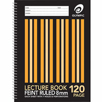 OLYMPIC SL870 LECTURE BOOK 8MM RULED 7 HOLE 120 PAGE 55GSM A4 PACK 10