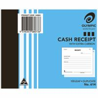 OLYMPIC 614 CASH RECEIPT BOOK CARBON DUPLICATE 100 LEAF 100 X 125MM
