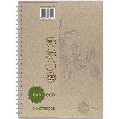 Image for TUDOR ECO RECYCLED NOTEBOOK 8MM RULED 70GSM 200 PAGE A4 NATURAL from Office National Perth CBD