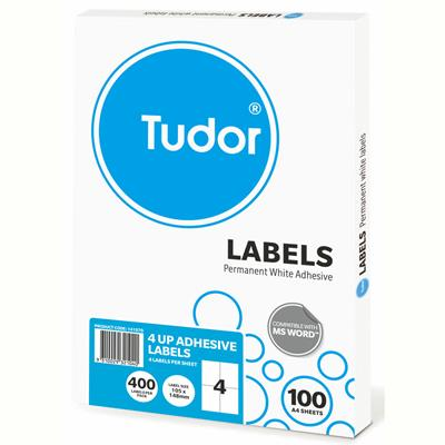 Image for TUDOR ADHESIVE LABELS 4UP 105 X 148MM WHITE BOX 100 from Office National Perth CBD