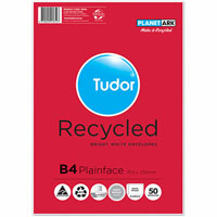TUDOR B4 ENVELOPES 60% RECYCLED POCKET PLAINFACE STRIP SEAL 80GSM 353 X 250MM WHITE PACK 50