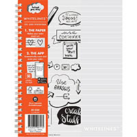 WHITELINES SPIRAL NOTEPAD 120 PAGE 7MM RULED 80GSM A5 PACK 5