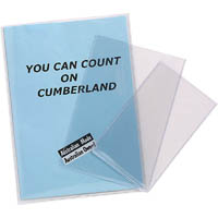 CUMBERLAND EXTRA HEAVY DUTY UNPUNCHED CARD HOLDER 220 X 308MM CLEAR PACK 25