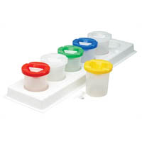 EDUCATIONAL COLOURS CLEAR PLASTIC PAINT POT STAND SET