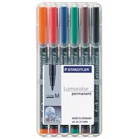 STAEDTLER 317 LUMOCOLOR PERMANENT MARKER 1.0MM ASSORTED WALLET 6