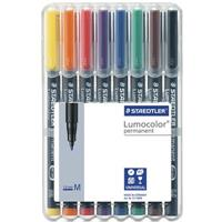 STAEDTLER 317 LUMOCOLOR PERMANENT MARKER 1.0MM ASSORTED WALLET 8