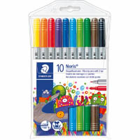STAEDTLER 320 NORIS CLUB FIBRETIP PENS WITH 2 TIPS WALLET 10