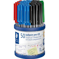 STAEDTLER 430 STICK BALLPEN MEDIUM ASSORTED CUP 50